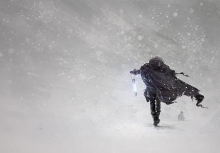 暴风雪,手电筒,雪,艺术,艺术,冬天