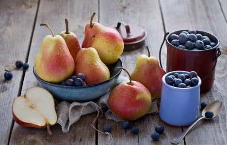 梨,蓝莓,浆果,水果