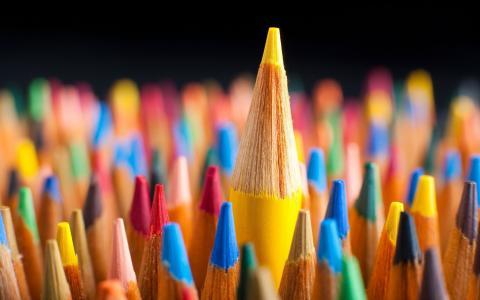 铅笔,彩色,黄色,蓝色,红色,绿色,宏