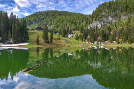 湖,山,房屋,树木,景观
