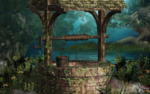 好吧,河流,水,常春藤,树木