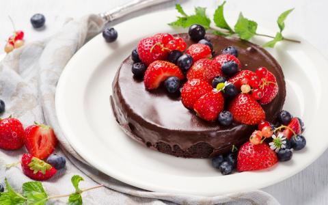 美味,蛋糕,浆果