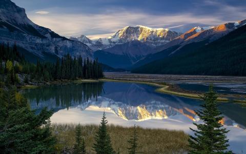 风景,美丽,山,湖,树,天空