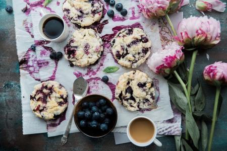甜点,饼干,与,蓝莓,咖啡,鲜花