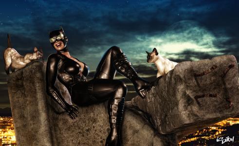 猫女,猫女人,猫,服装,面具,眼镜
