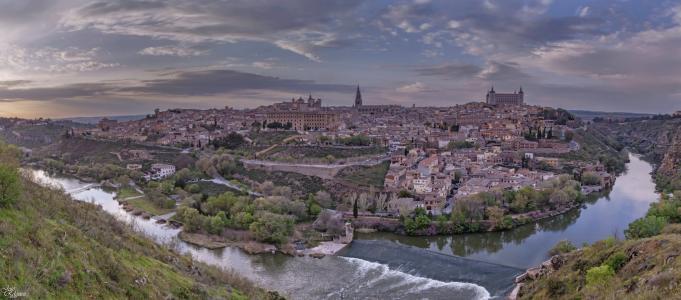 托莱多,西班牙,塔霍河,托莱多,西班牙,塔胡河,河,全景图