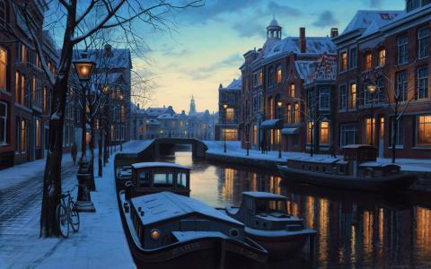 冬季的阿姆斯特丹