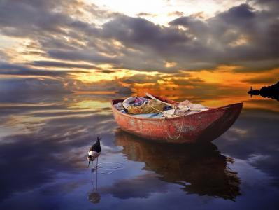 船,鸟,水,日落,船
