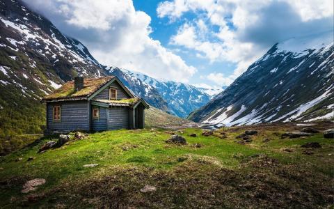 挪威,挪威,山,小屋,景观