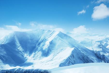雪山,风景,蓝天,云彩,山,山坡