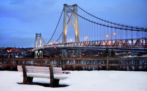 中哈德逊,纽约,纽约,美国,雪,冬天,纽约,雪,冬天