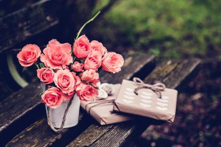 鲜花,礼物,粉红色,玫瑰