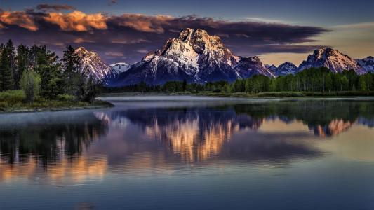 山,自然,水,云