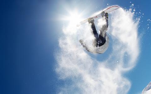 滑雪板,山,雪,跳,滑雪