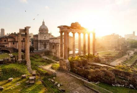 凯旋门Settimio塞维罗,意大利,罗马,农神庙,罗马论坛