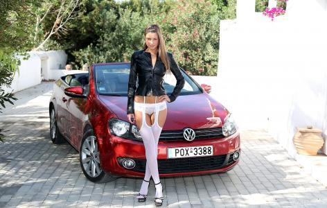 玛丽亚Ryabushkina,塔拉,玛丽亚,丝袜,VolksWagen,汽车