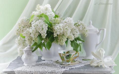 丁香,杯子,茶壶,餐巾,静物,鲜花
