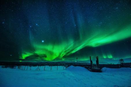 北极光,风景,冬天,雪,Enontekiö,Enontekion,芬兰,芬兰