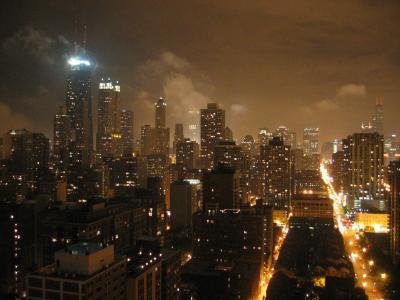 晚上,芝加哥,灯