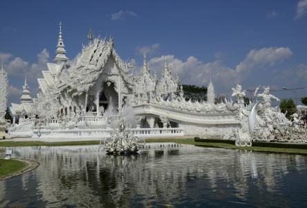 扫管笏荣坤,白庙,泰国,扫管笏荣坤,白庙,泰国,寺庙,桥,水