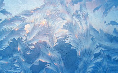 冬天,霜,模式,上,玻璃