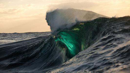 绿色,波浪,壁纸