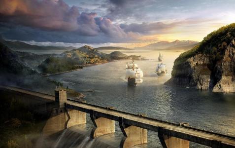 帆船,河,桥,大坝,岩石