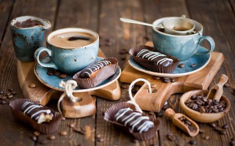 泡芙,咖啡,咖啡豆,静物