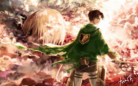 shingeki no kyojin,攻击泰坦,levi rivaille,短发,黑发,黄色的眼睛,武器,望着远处,裤子,风,解开外套,靴子到膝盖,傻笑