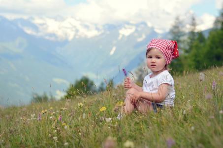 女孩,心情,草坪,野花