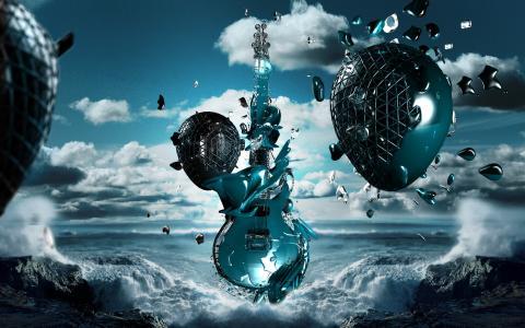 海,波浪,吉他,音乐
