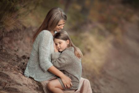 公园,妈妈,女孩,坐,爱