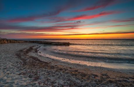 景观,海岸,海滩,沙,海,冲浪,日落