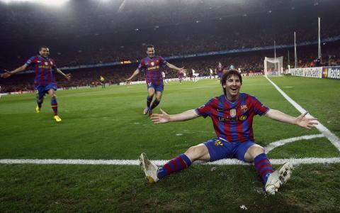 足球运动员,梅西,足球,在草地上