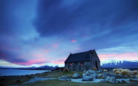 日落,景观,寺庙,山