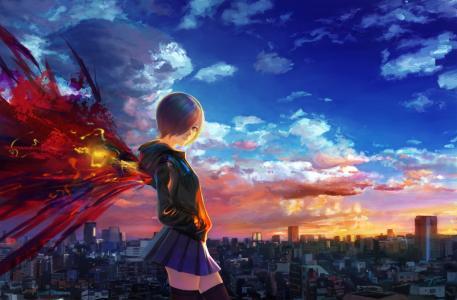 艺术,女孩,城市,房子,翅膀,天空,云,日落,动漫