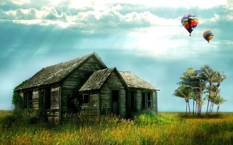 小屋,手掌,气球