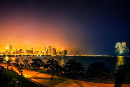 烟花,芝加哥,城市,敬礼