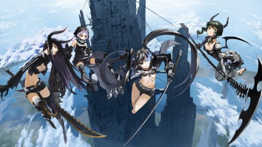 黑岩射手,kuroi mato,takanashi yomi,девушки,башняоружие