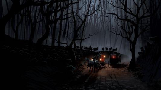 教练,晚上,森林,狼,船员,道路