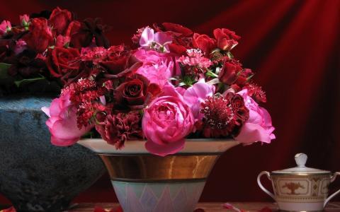 静物,花束,玫瑰,牡丹