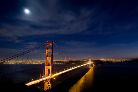 旧金山,城市,夜晚,桥,灯