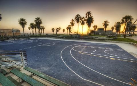 洛杉矶,加利福尼亚州,操场,棕榈树,日落,威尼斯海滩,日落,篮球,洛杉矶,加利福尼亚州,美国