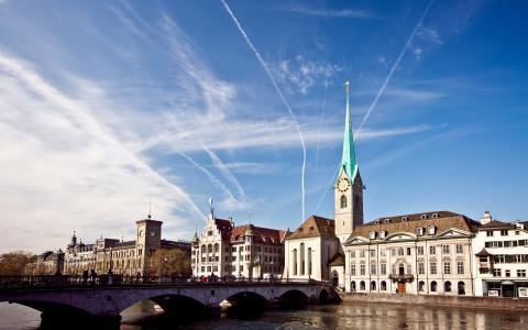 城市,建筑物,建筑物,桥,塔,天空