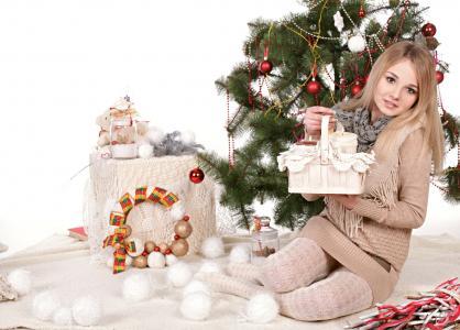杰夫米尔顿,女孩,新年,装饰品,毛皮树,假日