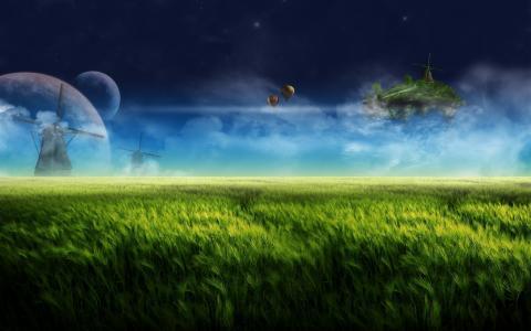 草,草地,飞行岛,行星,天空,云,磨
