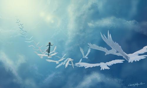 女孩,艺术,幻想,在天空中,鸟类
