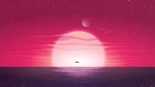 海平线的落日插画