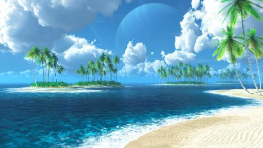 海洋,岛屿,壁纸