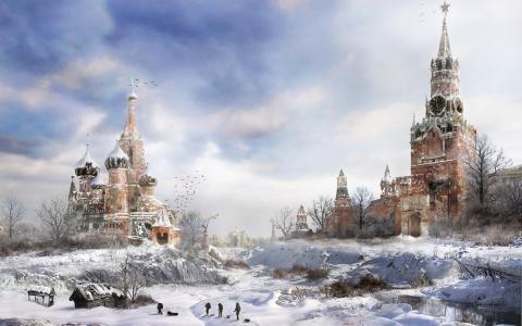 绘图,莫斯科,游戏,冬天,地铁2033,时钟,冷